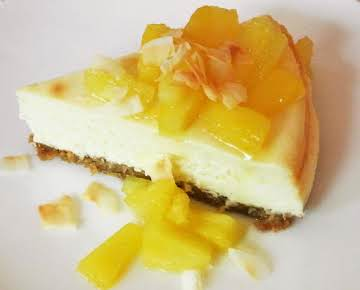 Tropical Coconut Cheesecake with Sauteed Pineapple