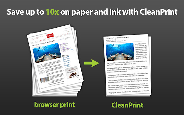 Print or PDF with CleanPrint  chrome extension