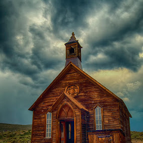 Bodie Church by Christian Wicklein - Buildings & Architecture Places of Worship ( clouds, hdr, church, bodie, menacing,  )