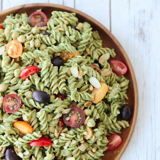 Vegan Pesto Gluten Free Pasta Salad | Healthy Summer Potluck Recipe