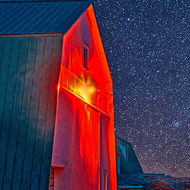 Starry Night by Bill Diller - Digital Art Things ( digital, orange, star, michigan, barn, farm, barns, stars, farmland, farm scene )