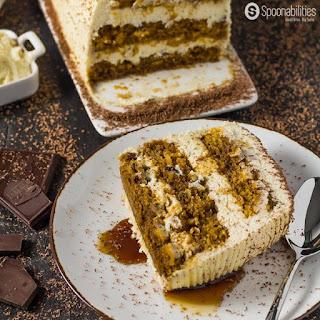 Pumpkin Tiramisu Cake Recipe with Pumpkin Spice Mascarpone Cream.