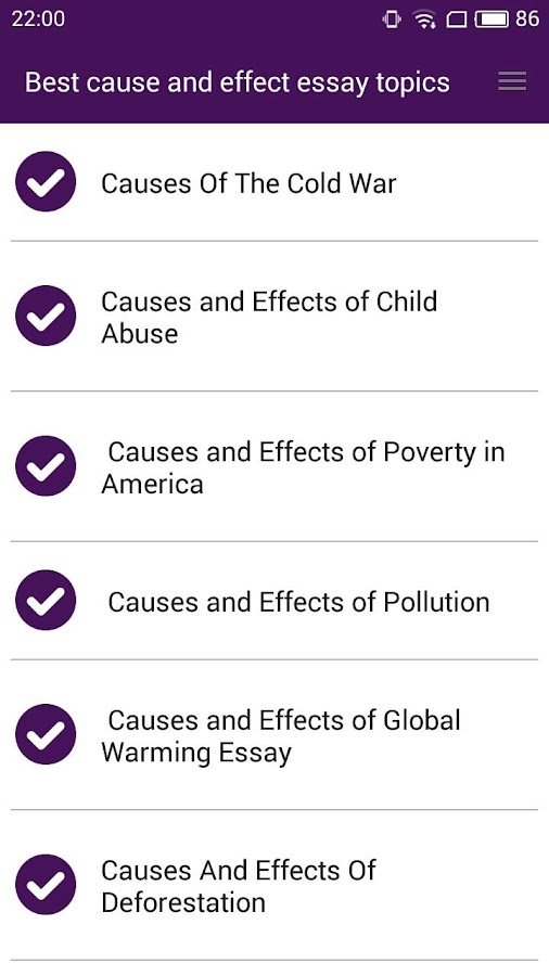 best cause and effect essays android apps on google play best cause and effect essays screenshot