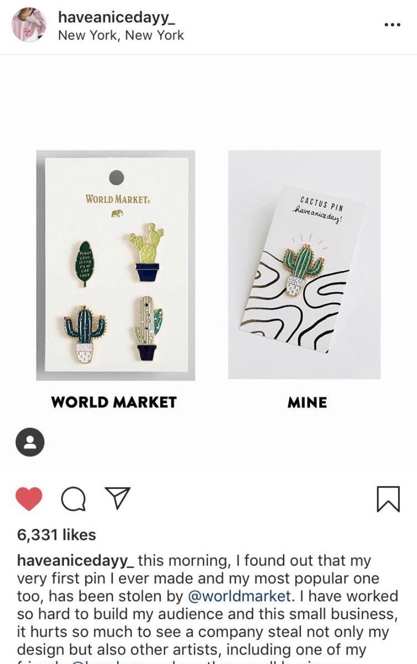 an example of a stolen pin from world market