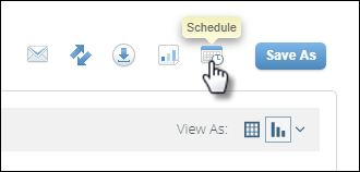 The report interface with a mouse clicking the Schedule icon.