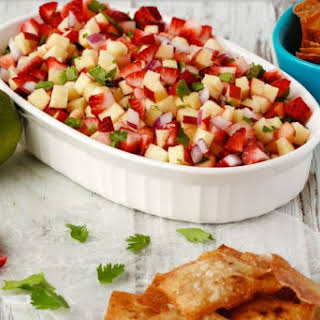 Fruit Salsa with Cinnamon Wonton Chips.