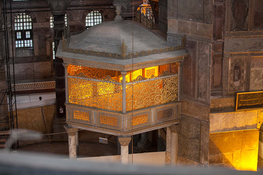 Inside-Hagia-Sophia-9.jpg - A golden-colored religious chamber, off-limits to the public, inside Hagia Sophia in Istanbul.