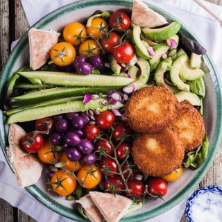 Greek Salad with Fried Feta Cheese Recipe