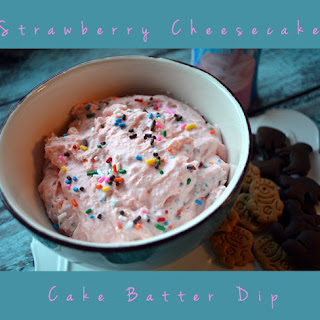Strawberry Cheesecake Cake Batter Dip.