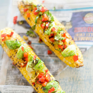 Grilled Corn Loaded With Brussels Sprouts Salad.