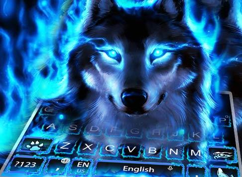 Blue Fire Wolf Keyboard Theme 10001004 screenshots 5