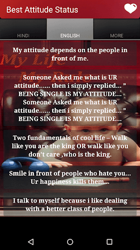 someone asked me what is your attitude then i simply replied being single is my attitude in hindi