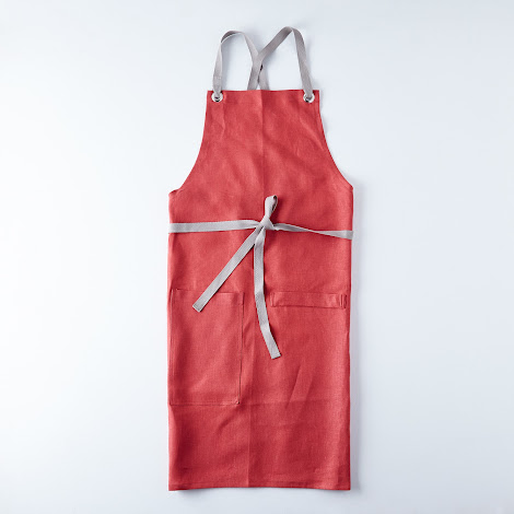 Crimson Cross-Back Kitchen Apron