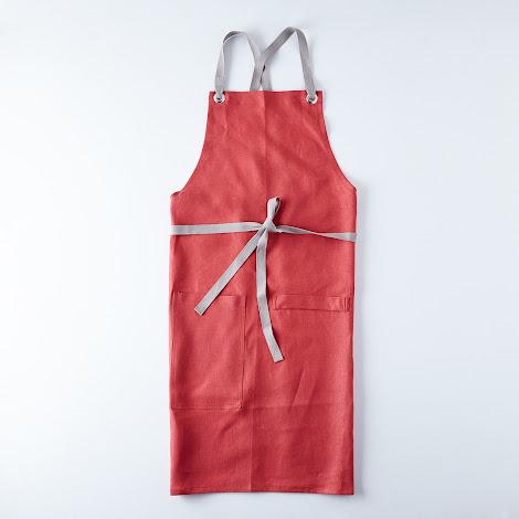 Crimson Cross-Back Kitchen Apron
