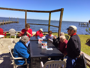 """Photo: Start of a great lunch at """"New York, New York"""" on the Indian River in Titusville.  You can see the Vehical Assembly Building at the Kennedy Space Ctr in the background."""
