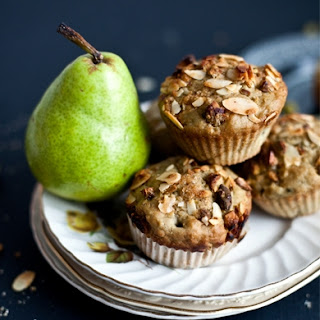 Pear & Green Matcha Tea Muffins with Almond - Pistachio Crumble