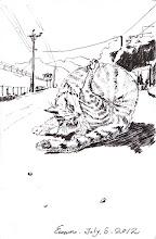 Photo: 又見貓咪2012.07.05鋼筆 直到兩年前監獄裡原本有成群的野貓,雖然不跟人親近,但始終和人類有不錯的互動,我也常拿吃不完的魚餵他們,只是好景不常,新到任的長官說貓髒,接著下令大張旗鼓做陷阱抓貓,那時外役隊還曾將三隻抓到的貓裝在布袋裡,好讓車載到監外去,怎料車來前下了場大雨,三隻貓咪就這麼活活給悶死了…野貓絕跡後是少了叫春時的惱人噪音,但長官們不知情的是,沒了貓,監獄裡蟑螂蛇鼠就此變多,連帶的也影響了監獄裡的環境衛生…今天很高與又能看到野貓,但已成不了氣候,因為有些老鼠已經大到連貓看了都會怕了…