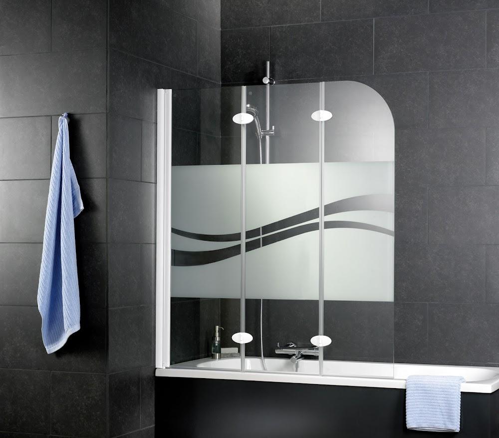 3 volets pare baignoire liane 125 x 140 cm profile blanc