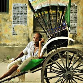 by Sagnik Ghosh - People Portraits of Men ( #signatureofcal, #handpulledrickshaw, #streetscenes, #lovelycalcutta, #pullersexpression )