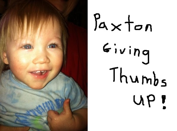 Our little Paxton loves these pancakes !!!  Here he is giving his famous Thumbs Up !!!
