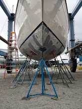 Photo: hull after April 2015 round of blister repairs.