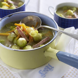 Potato Soup with Ham and Brussels Sprouts.