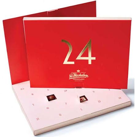 Chokladkalender/adventskalender med dessertchoklad & praliner 2020 – Sv .Michelsen