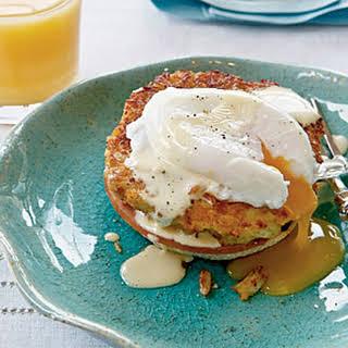 Horseradish Crab Cake Benedict with Simple Hollandaise.