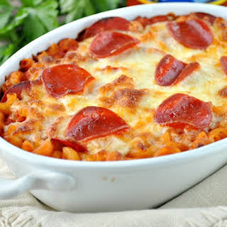 Dump and Bake Pizza Pasta Casserole.