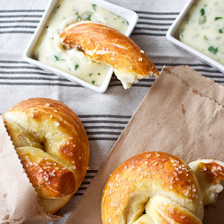 Soft Pretzels with Roasted Jalapeño Cheese Sauce.