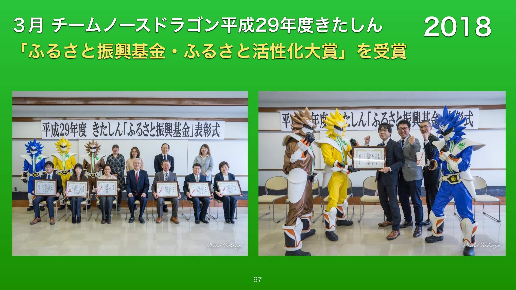 3月:チームノースドラゴン平成29年度きたしん「ふるさと振興基金・ふるさと活性化大賞」を受賞