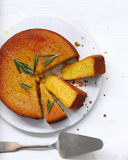Honey, Rosemary And Yogurt Polenta Cake