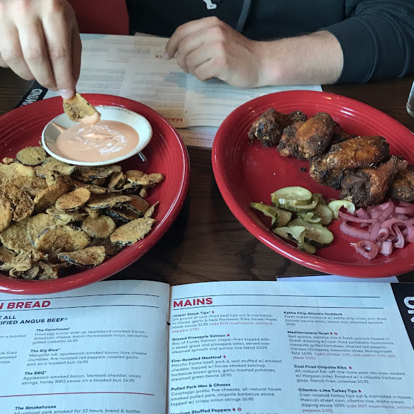 GF Fried pickles and dry rub wings! Delicious!!