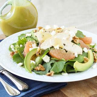 Grapefruit, Kale, Chicken and Avocado Power Salad with Champagne Vinaigrette.