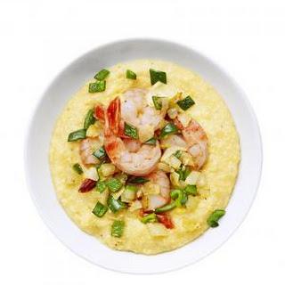 Corn Polenta with Shrimp.