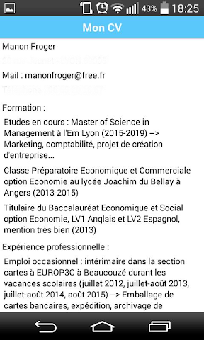 android Manon Froger CV Screenshot 1