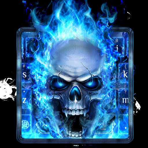 Blue Fire Skull Typewriter