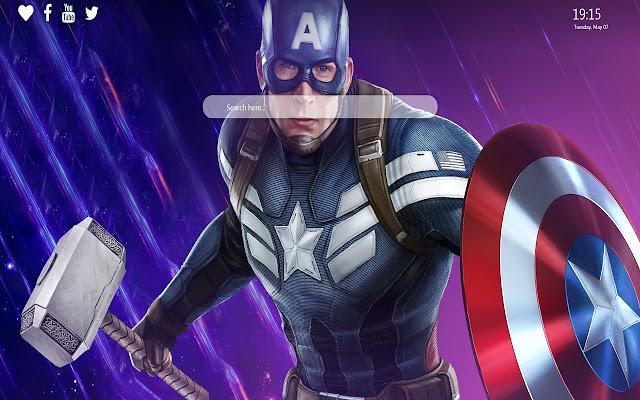 Captain America Thors Hammer New Tab Theme