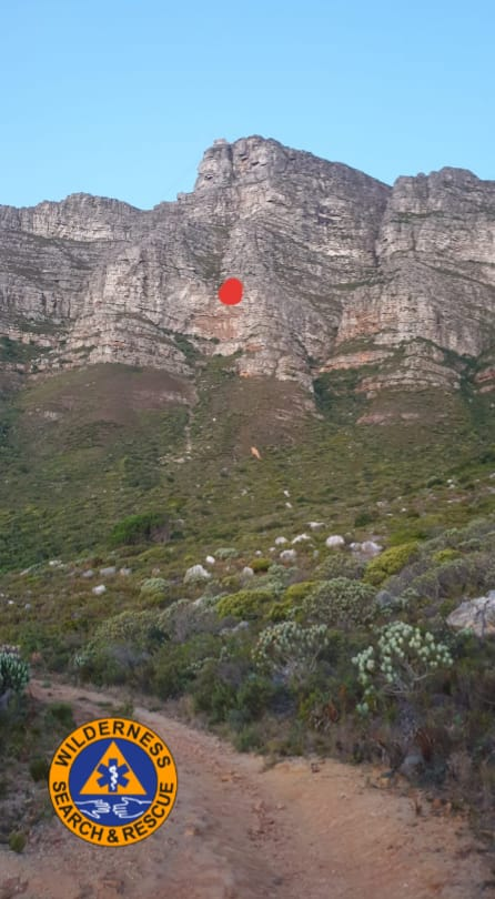 A red dot indicates where the hiker fell.