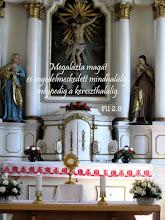 """Photo: """"Engedelmesség"""" Biblia, SZIT 1996. A Csíkszereda-i Szent Kereszt templom oltára."""