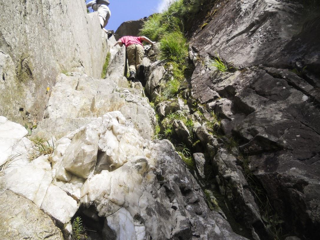 Climbing up Milestone Gully, Tryfan