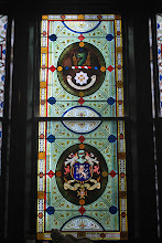 Photo: Closer view of stained glass panels - note that both of the common Dalton shields are depicted.