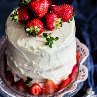Eggless Pastel de Tres Leches - Eggless Three Milks Cake With Fresh Strawberries.