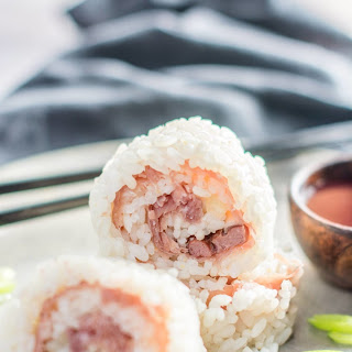 Smoked Duck Sushi with Blackberry Dipping Sauce.