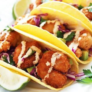 Crispy Shrimp Tacos with Spicy Yogurt Sauce.