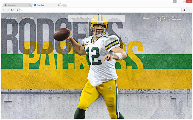 the latest 3b08c 9f746 NFL Aaron Rodgers Wallpapers HD New Tab Theme