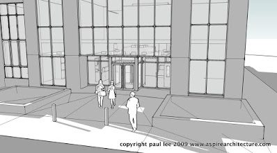 Photo: New Front Entrance Perspective: Refurbishment of Engineering Block in Mahon, County Cork, Ireland, completed January 2008. The project was carried out entirely in SketchUp Pro/ LayOut
