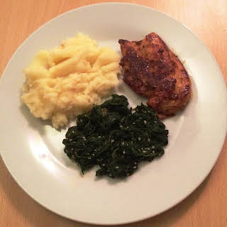 Teriyaki Chicken With Creamy Mashed Potatoes And Spinach.