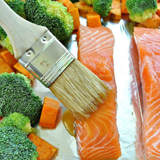 Maple-Glazed Salmon with Sweet Potatoes and Broccoli