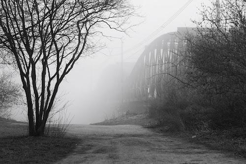 Bridge in the fog by Michal Fokt - Black & White Buildings & Architecture ( fog, bridge )